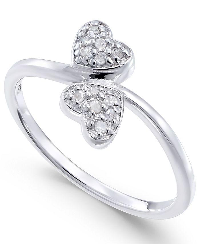 Macy's - Diamond Double Heart Ring (1/10 ct. t.w) in Sterling Silver