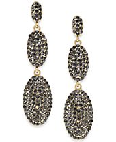 I.N.C. Gold-Tone Pavé Oval Drop Earrings, Created for Macy's