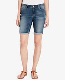 Vintage America Cotton Boho Cuffed Bermuda Shorts