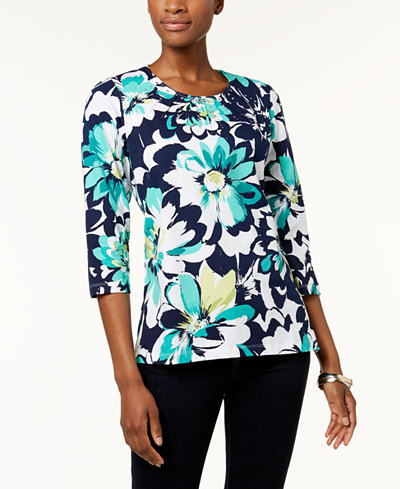 Alfred Dunner Montego Bay Petite Pleated-Neck Top
