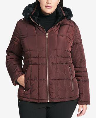 Calvin Klein Plus Size Faux Fur Hood Down Coat