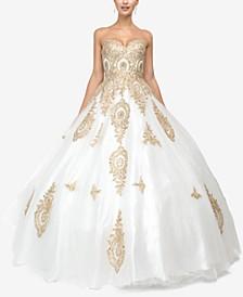 Juniors' Rhinestone Appliqué Gown