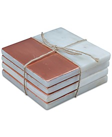 CLOSEOUT! White Marble & Copper Coasters, Set of 4