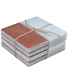 CLOSEOUT! Thirstystone White Marble & Copper Coasters, Set of 4