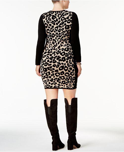 Say What Trendy Plus Size Leopard Print Sweater Dress Dresses