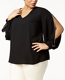 Nine West Plus Size Embellished Split-Sleeve Top