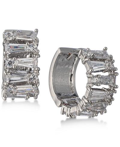 Carolee Silver-Tone Crystal Huggie Hoop Earrings