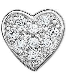 Diamond Accent Heart Single Stud Earring in 14k White Gold