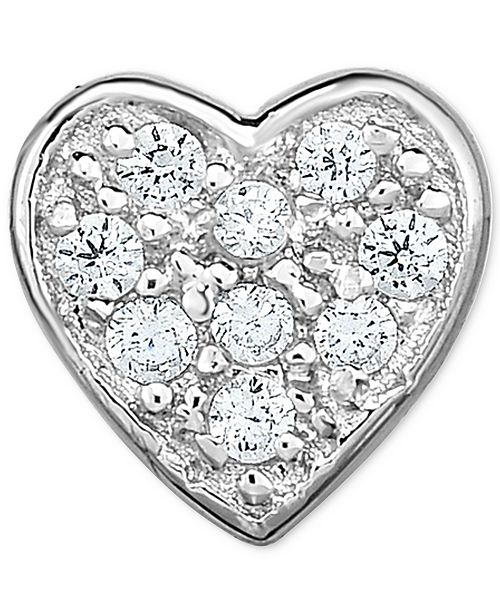 Macy's Diamond Accent Heart Single Stud Earring in 14k White Gold