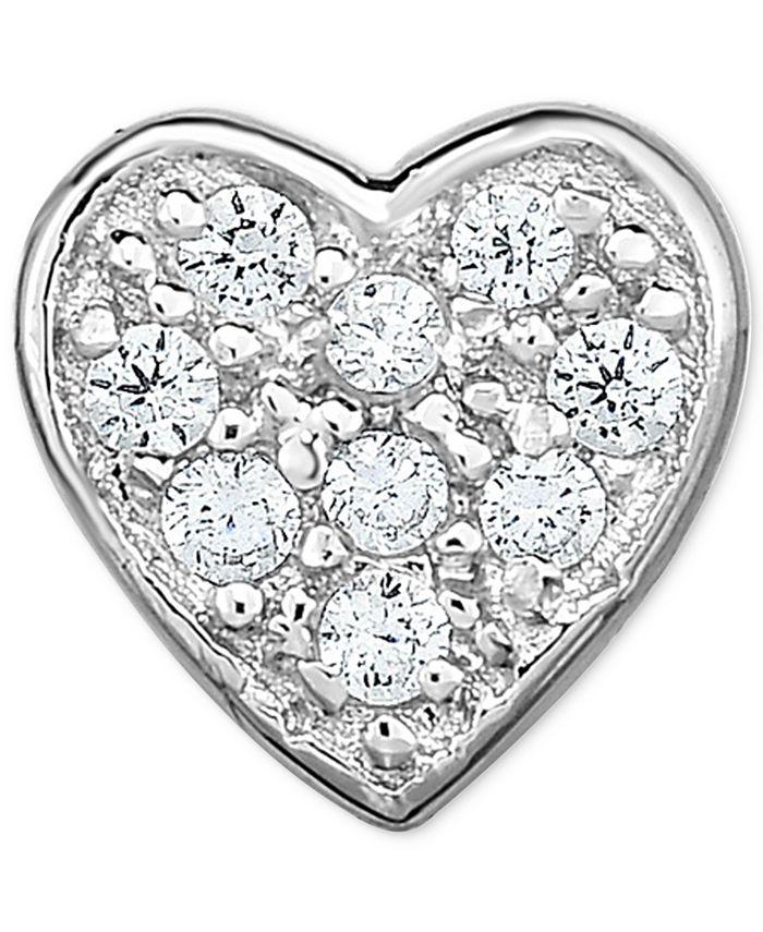 Macy's - Diamond Accent Heart Single Stud Earring in 14k White Gold