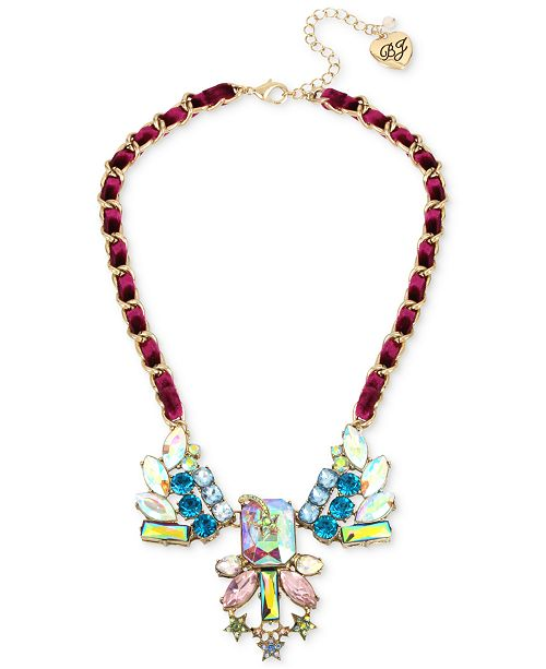 Betsey Johnson Gold-Tone Multi-Stone Shooting Star & Woven Burgundy Velvet Ribbon Statement Necklace