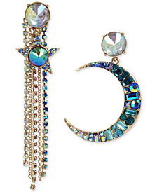 Betsey Johnson Gold-Tone Multi-Stone Moon, Star & Chain Mismatch Earrings