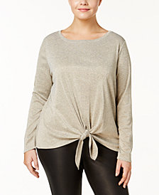 I.N.C. Plus Size Metallic-Knit Tie-Hem Top, Created for Macy's
