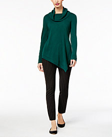 NY Collection Asymmetrical Sweater & ECI Straight-Leg Pants