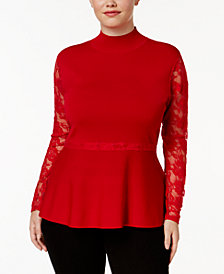 I.N.C. Plus Size Lace Peplum Sweater, Created for Macy's
