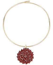 Kenneth Cole New York Gold-Tone Woven Red Bead Pendant Collar Necklace