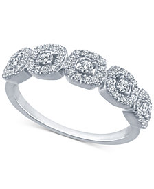 Diamond Halo Cluster Ring (1/4 ct. t.w.) in 10k Gold or White Gold