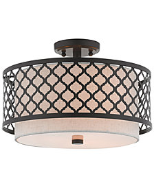 "Livex Arabesque 3-Light 15"" Semi Flush"