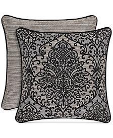 """J Queen New York Raffaella Graphite 20"""" Square Decorative Pillow"""