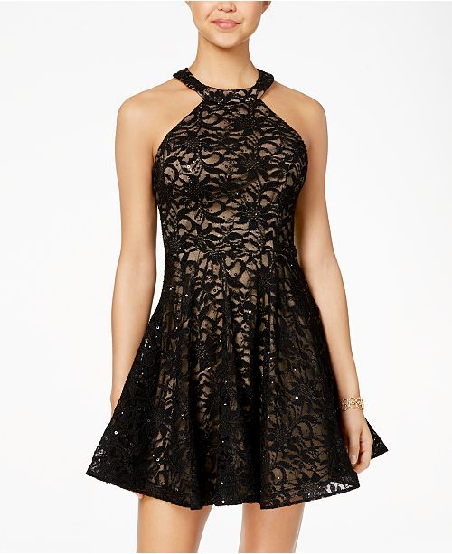 B Darlin Juniors' Sequined Lace Fit & Flare Dress