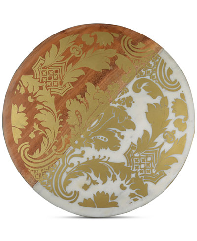 Thirstystone Marble & Wood Serving Board with Gold-Tone Brocade Design