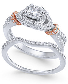 Diamond Two-Tone Bridal Set (5/8 ct. t.w.) in 14k White & Rose Gold