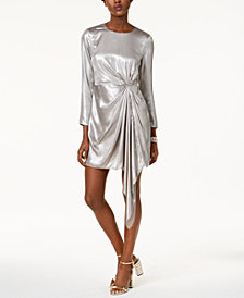 Bardot Draped Metallic Asymmetrical Dress