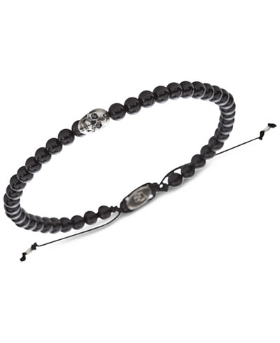 DEGS & SAL Men's Matte Onyx (6mm) Bead Adjustable Bracelet in Sterling Silver, (Also in Shiny Onyx and Tiger's Eye)