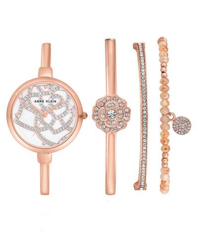 Anne Klein Women's Rose Gold-Tone Bangle Bracelet 32mm Gift Set