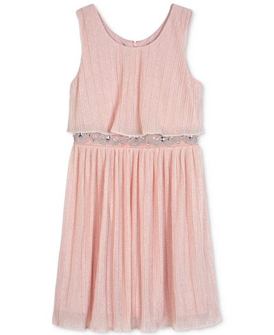 BCX Pleated Glitter Popover Dress, Big Girls