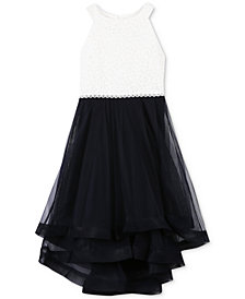 Speechless Big Girls Glitter Lace-Bodice Dress