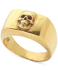 DEGS & SAL Men's Skull Ring in 14k Gold-Plated Sterling Silver