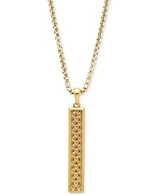 DEGS & SAL Men's Vertical Bar Stealth Pendant Necklace in 14k Gold-Plated Sterling Silver