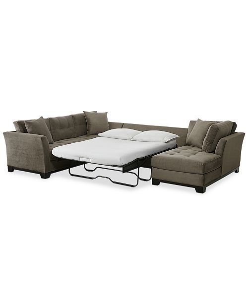 Furniture Closeout Elliot 3 Pc Fabric Microfiber Sectional With Full Sleeper Sofa Chaise Created For Macy S