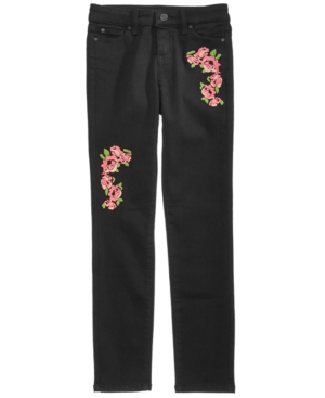 Celebrity Pink Floral Embroidered Skinny Jeans Big Girls