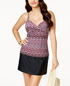 Island Escape Zig Zag Shores Printed Underwire Push-up Tankini Top  &  High-Waist Swim Skirt, Created for Macy's