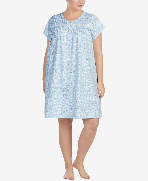 Eileen West Plus Size Cotton Button-Front Nightgown