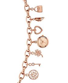 Anne Klein Women's Rose Gold-Tone Chain Bracelet Watch 20mm
