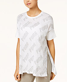Puma En Point Logo-Print Split-Hem Relaxed T-Shirt