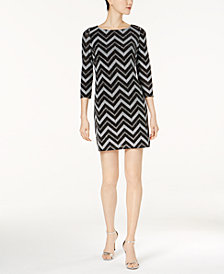 Jessica Howard Petite Metallic Chevron-Stripe Dress