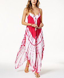 Raviya Tie-Dyed Handkerchief-Hem Maxi Dress Cover-Up