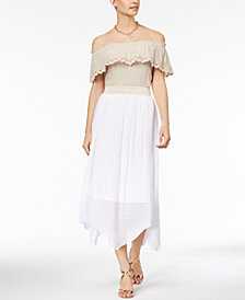 Thalia Sodi Ruffled Gauze Off-The-Shoulder Top & Skirt, Created for Macy's