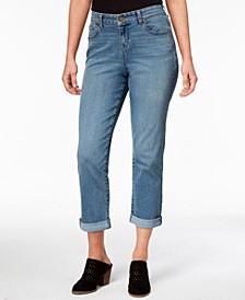 Petite Curvy-Fit Boyfriend Capri Jeans, Created for Macy's