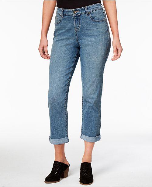 Style & Co Petite Curvy-Fit Boyfriend Capri Jeans, Created for Macy's