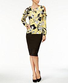 Thalia Sodi Orchid Ruffled Top & Perforated Scuba Skirt, Created for Macy's