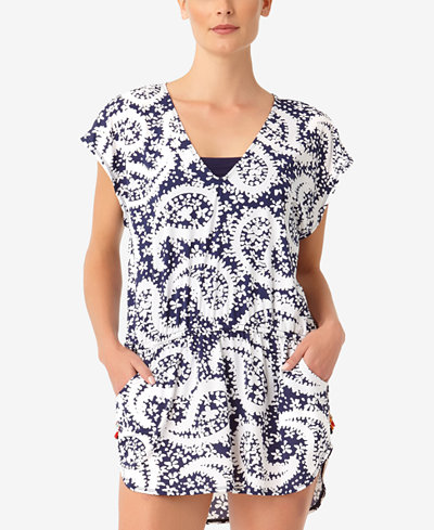 Anne Cole Pattie Paisley Printed Tunic Cover-Up