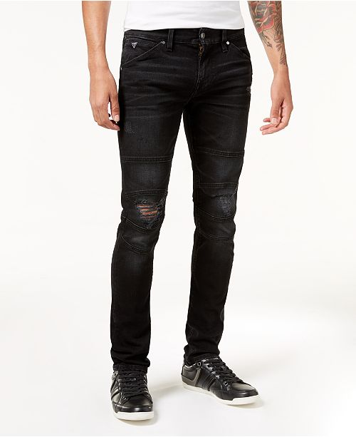 39b58fddfd2148 GUESS Men's Slim-Fit Tapered Stretch Ripped Moto Jeans & Reviews ...