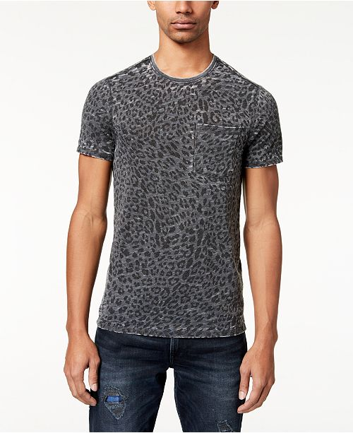 White Faded Leopard Print T Shirt Cotton Regular Fit Men S Shirts