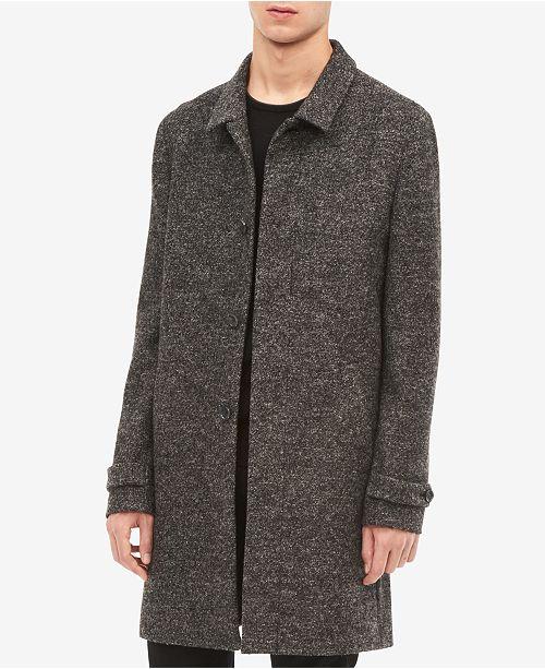 Calvin Klein Men's Heathered Front-Button Wool Coat