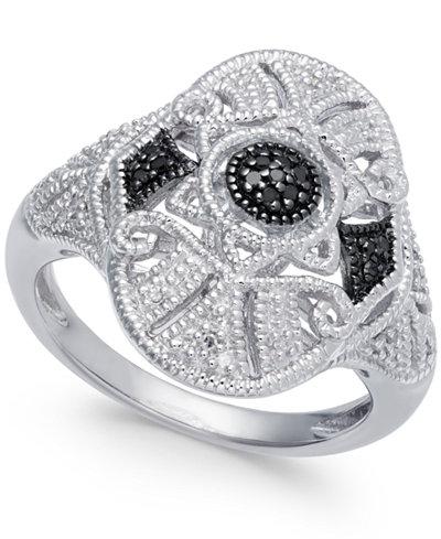 Diamond Fancy Openwork Ring (1/8 ct. t.w.) in Sterling Silver